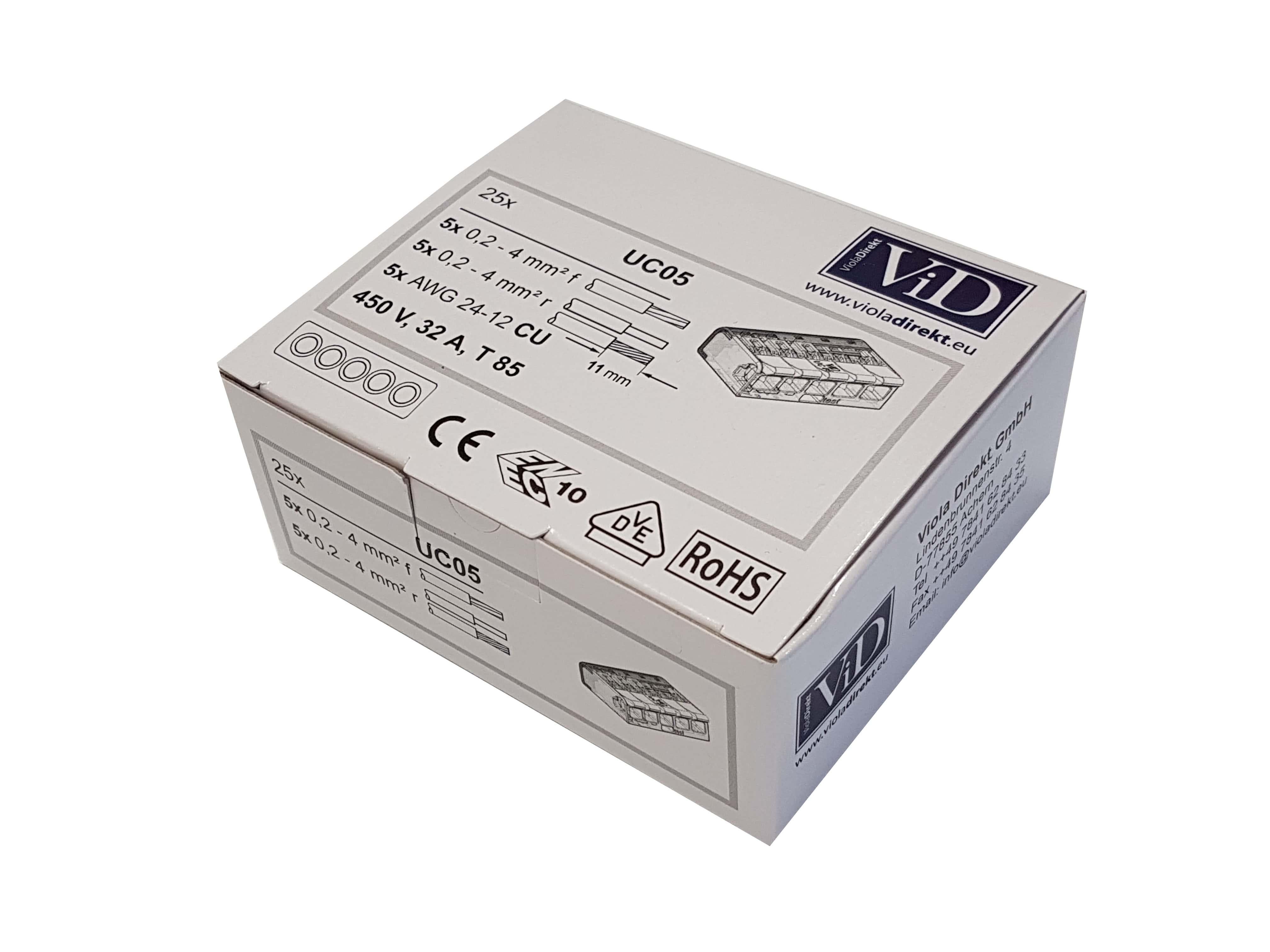 3-pol 5-pol 0,2-4mm² der UC Serie ViD Hebelklemme 2-pol KOMBI